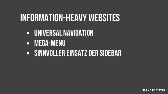 § Display it on every URL of the subsite § keep the focus on the subsite navigation § Sichere eine klare hierarchie muss v...