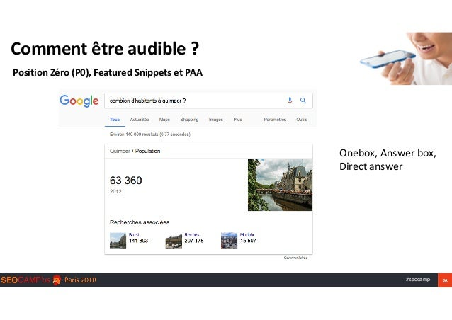 #seocamp 28 Commentêtreaudible? PositionZéro(P0),FeaturedSnippetsetPAA Onebox,Answerbox, Directanswer