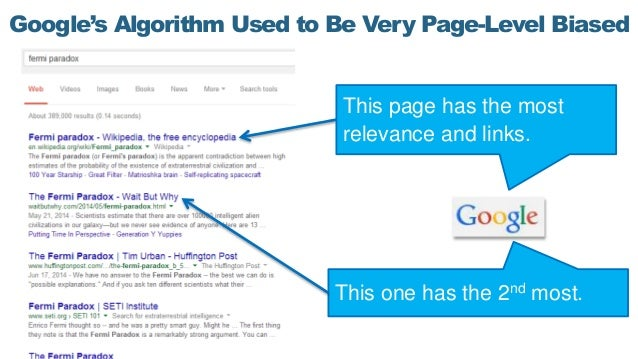Google's Algorithm Used to Be Very Page-Level Biased This page has the most relevance and links. This one has the 2nd most.