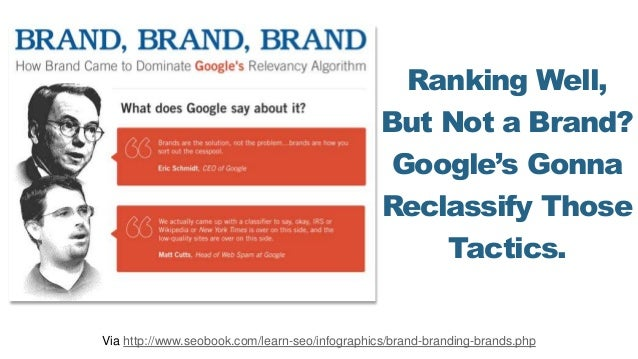 Ranking Well, But Not a Brand? Google's Gonna Reclassify Those Tactics. Via http://www.seobook.com/learn-seo/infographics/...