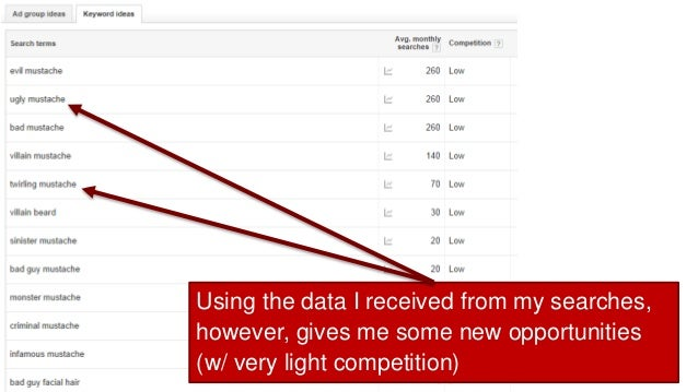 Using the data I received from my searches, however, gives me some new opportunities (w/ very light competition)