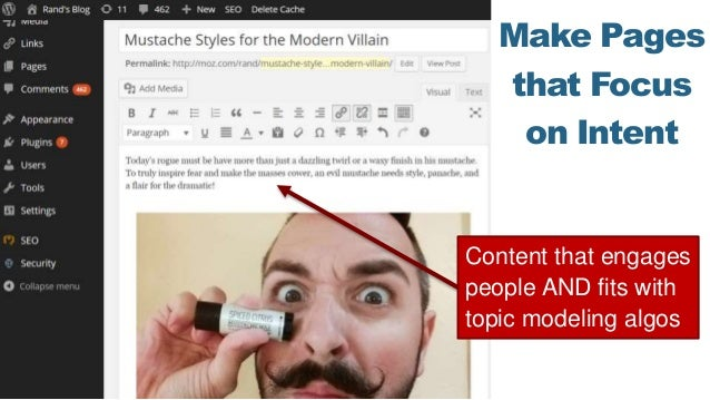 Make Pages that Focus on Intent Content that engages people AND fits with topic modeling algos