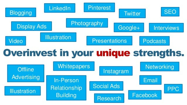 Overinvest in your unique strengths. Blogging Video Photography Presentations In-Person Relationship Building Twitter Face...