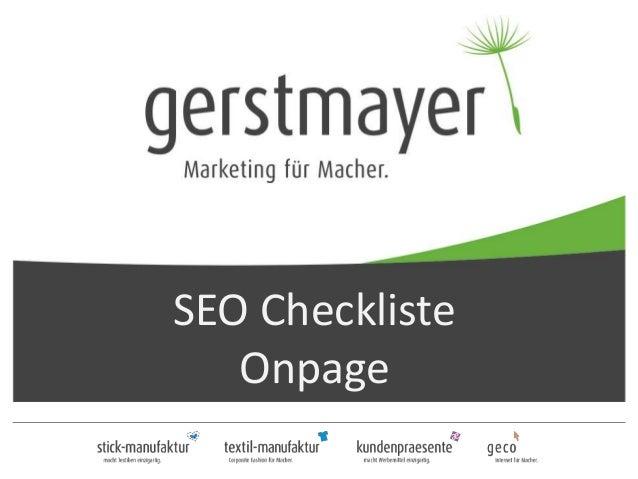 SEO Checkliste Onpage