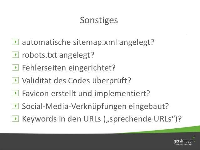 SEO Checkliste Onpage - Werbeagentur Gerstmayer