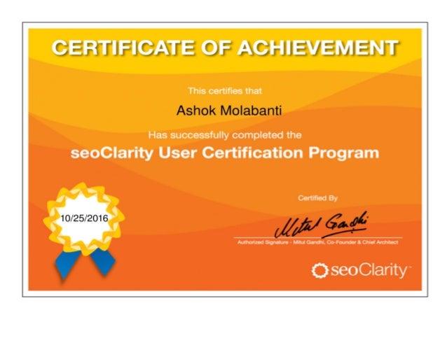 Seo Clarity Certificate