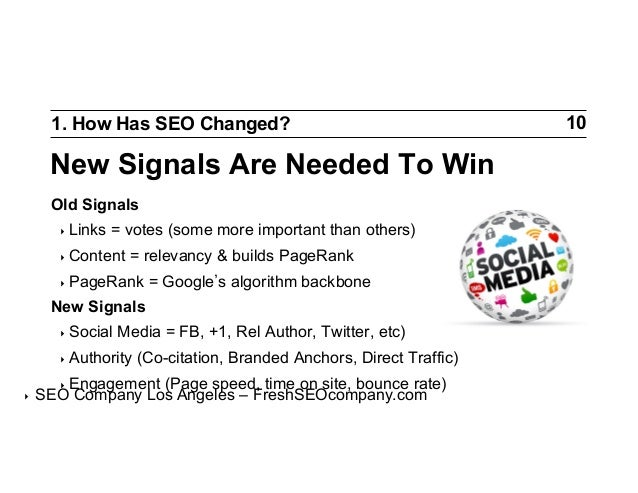 1. How Has SEO Changed?  New Signals Are Needed To Win Old Signals ‣ Links  = votes (some more important than others)  ‣...