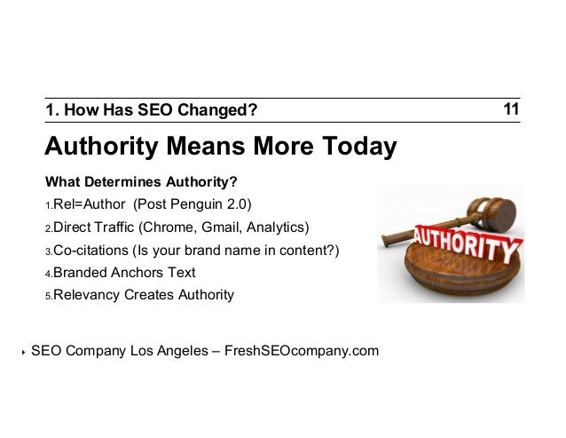 1. How Has SEO Changed?  Authority Means More Today What Determines Authority? 1.Rel=Author 2.Direct  Traffic (Chrome, G...