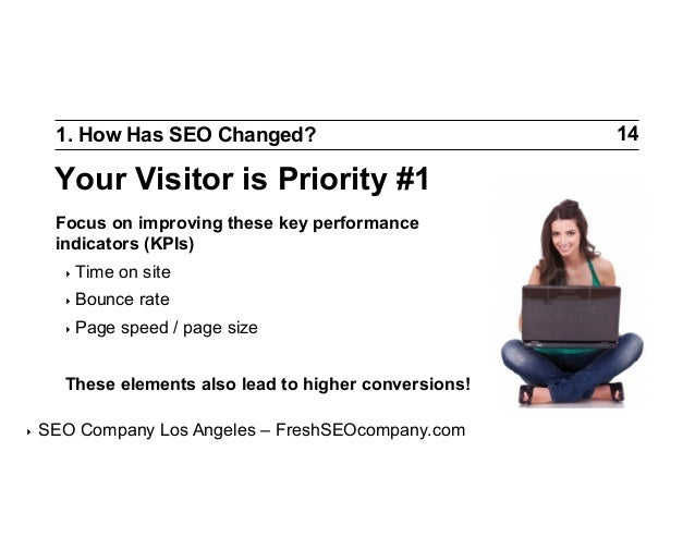 1. How Has SEO Changed?  Your Visitor is Priority #1 Focus on improving these key performance indicators (KPIs) ‣ Time  o...