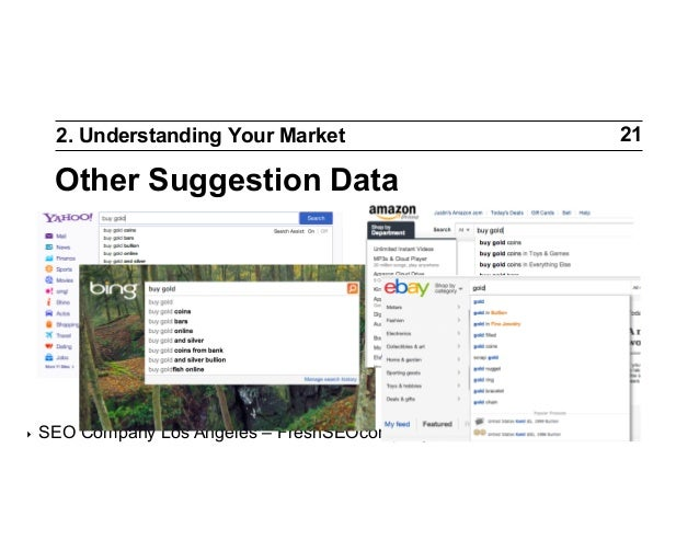 2. Understanding Your Market  Other Suggestion Data  ‣  SEO Company Los Angeles – FreshSEOcompany.com  21