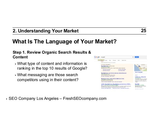 2. Understanding Your Market  What Is The Language of Your Market? Step 1. Review Organic Search Results & Content ‣ What...