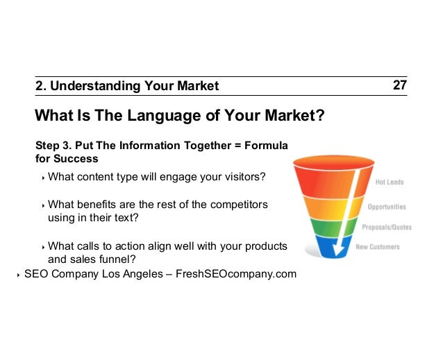 2. Understanding Your Market  What Is The Language of Your Market? Step 3. Put The Information Together = Formula for Succ...