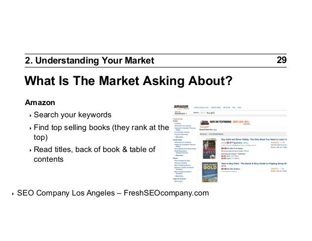 2. Understanding Your Market  What Is The Market Asking About? Amazon ‣ Search ‣ Find  your keywords  top selling books ...