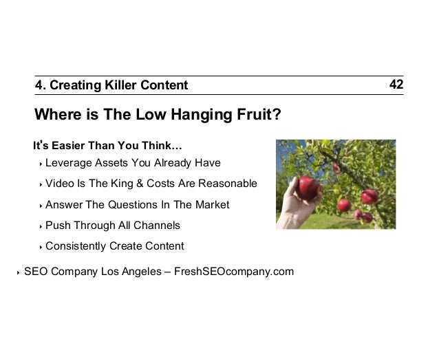 4. Creating Killer Content  Where is The Low Hanging Fruit? It s Easier Than You Think… ‣ Leverage ‣ Video  Is The King ...