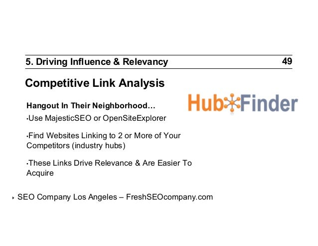 5. Driving Influence & Relevancy  Competitive Link Analysis Hangout In Their Neighborhood… •Use  MajesticSEO or OpenSiteE...