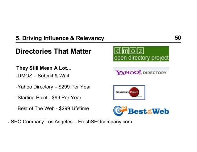 5. Driving Influence & Relevancy  Directories That Matter They Still Mean A Lot… •DMOZ  – Submit & Wait  •Yahoo  Directo...