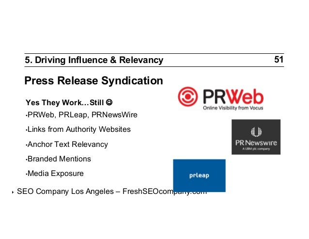 5. Driving Influence & Relevancy  Press Release Syndication Yes They Work…Still  •PRWeb, •Links  from Authority Website...