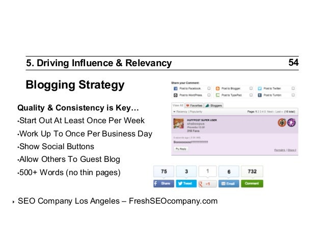 5. Driving Influence & Relevancy  Blogging Strategy Quality & Consistency is Key… •Start  Out At Least Once Per Week  •W...