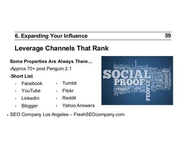 6. Expanding Your Influence  Leverage Channels That Rank Some Properties Are Always There… •Approx •Short  70+ post Peng...