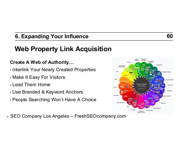 6. Expanding Your Influence  Web Property Link Acquisition Create A Web of Authority… • Interlink • Make • Lead • Use ...
