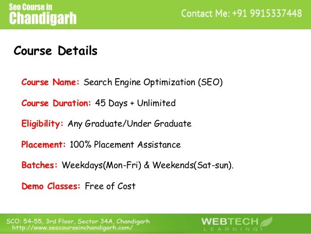 Course Details Course Name: Search Engine Optimization (SEO) Course Duration: 45 Days + Unlimited Eligibility: Any Graduat...