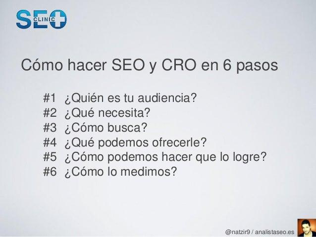 Cómo hacer SEO y CRO en 6 pasos  #1   ¿Quién es tu audiencia?  #2   ¿Qué necesita?  #3   ¿Cómo busca?  #4   ¿Qué podemos o...