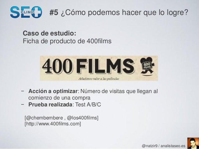 #5 ¿Cómo podemos hacer que lo logre?Caso de estudio:Ficha de producto de 400films− Acción a optimizar: Número de visitas q...