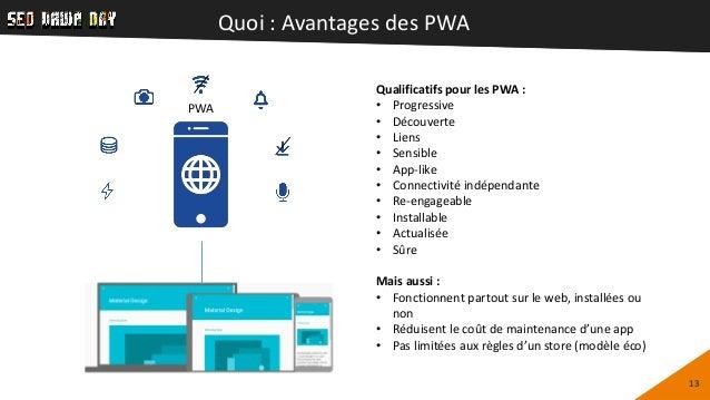 Quoi : Avantages des PWA 13 Qualificatifs pour les PWA : • Progressive • Découverte • Liens • Sensible • App-like • Connec...
