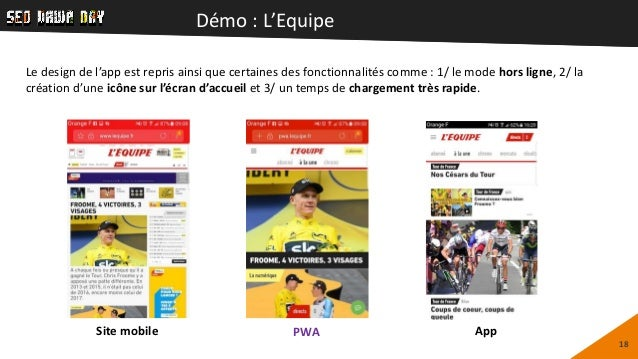 Démo : L'Equipe 18 Le design de l'app est repris ainsi que certaines des fonctionnalités comme : 1/ le mode hors ligne, 2/...