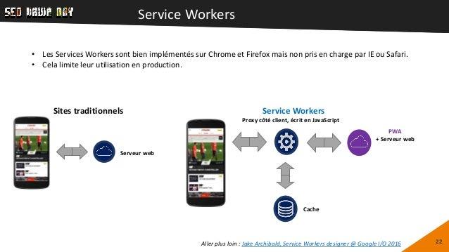 Service Workers 22 Proxy côté client, écrit en JavaScript Cache Service Workers PWA + Serveur web Sites traditionnels Serv...