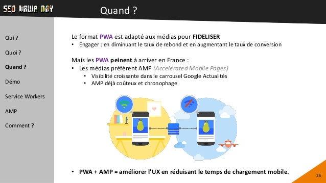 Quand ? 26 Qui ? Quoi ? Quand ? Démo Service Workers AMP Comment ? Le format PWA est adapté aux médias pour FIDELISER • En...