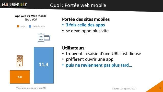 Quoi : Portée web mobile 5 Portée des sites mobiles • 3 fois celle des apps • se développe plus vite Utilisateurs • trouve...