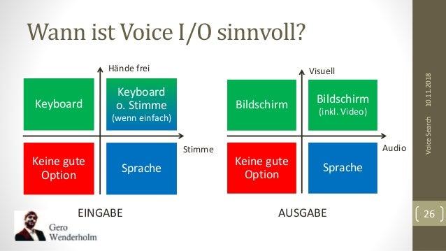 Wann ist Voice I/O sinnvoll? 10.11.2018VoiceSearch 26 Keyboard Keyboard o. Stimme (wenn einfach) Keine gute Option Sprache...