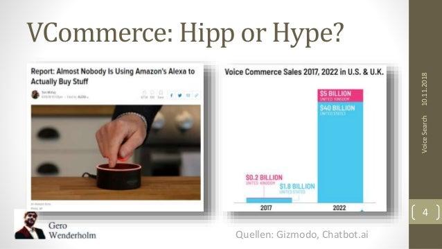 VCommerce: Hipp or Hype? 10.11.2018VoiceSearch 4 Quellen: Gizmodo, Chatbot.ai