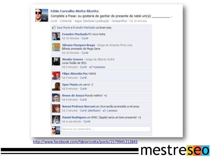 Oferecimento da palestraMuito Obrigado!Dúvidas?ContatoTwitter: @fabioricottaEmail: fabioricotta@mestreseo.com.brWebsite: w...