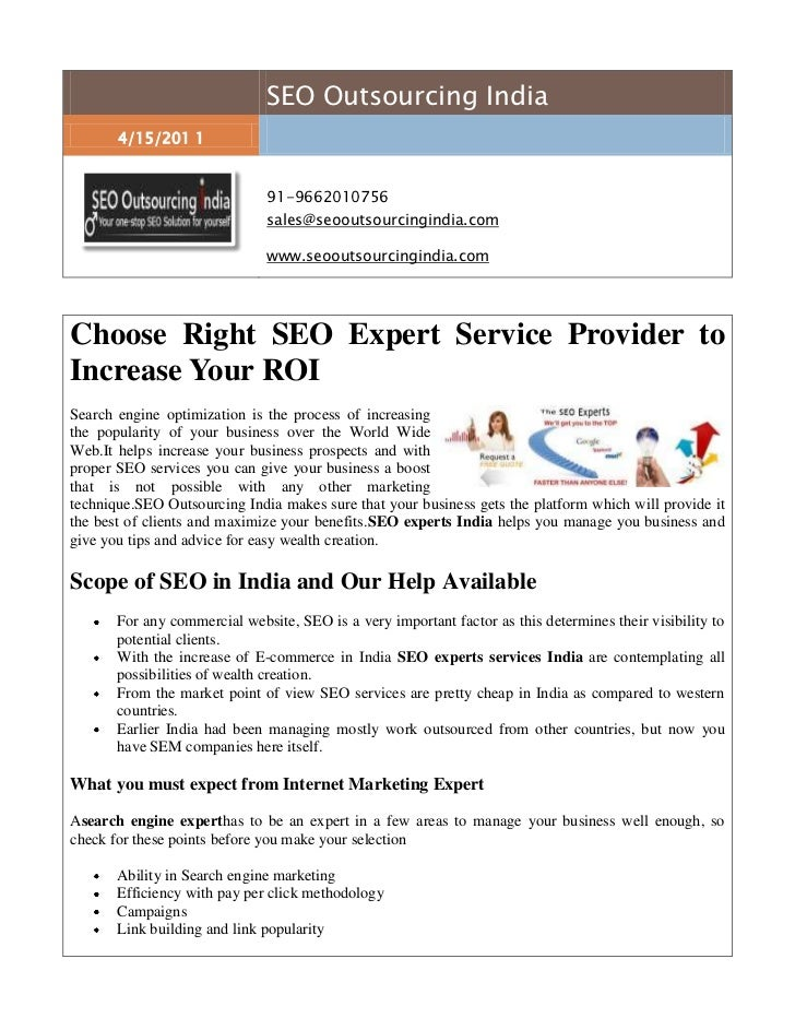 SEO Outsourcing India4/15/201 191-9662010756sales@seooutsourcingindia.com www.seooutsourcingindia.com <br />Choose Right S...