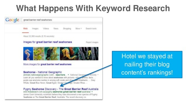 What Happens With Keyword Research  Hotel we stayed at  nailing their blog  content's rankings!