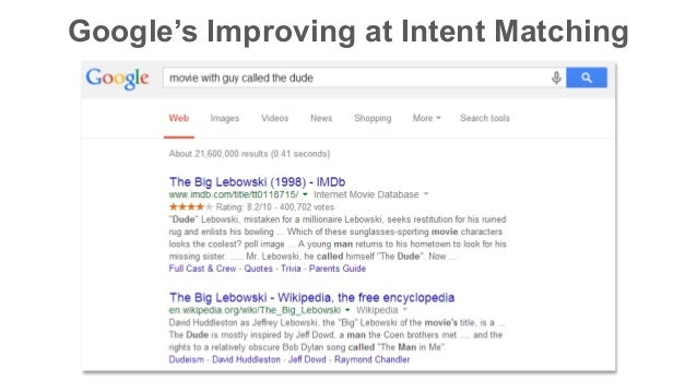 Google's Improving at Intent Matching
