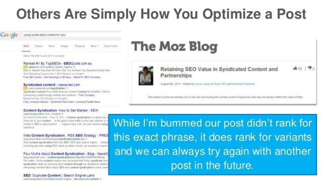 Others Are Simply How You Optimize a Post  While I'm bummed our post didn't rank for  this exact phrase, it does rank for ...