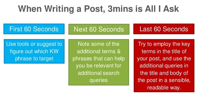 When Writing a Post, 3mins is All I Ask  First 60 Seconds Next 60 Seconds Last 60 Seconds  Use tools or suggest to  figure...