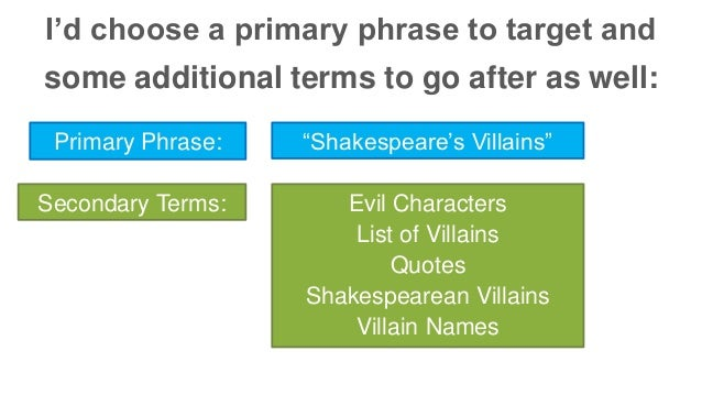 "I'd choose a primary phrase to target and  some additional terms to go after as well:  Primary Phrase: ""Shakespeare's Vill..."