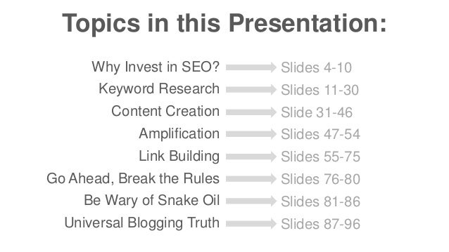 Topics in this Presentation:  Why Invest in SEO?  Keyword Research  Content Creation  Amplification  Link Building  Go Ahe...