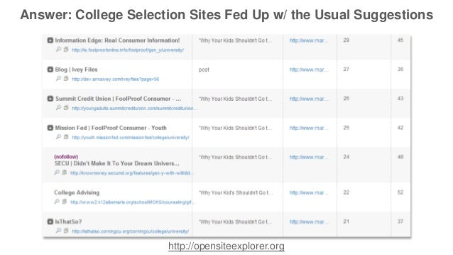Answer: College Selection Sites Fed Up w/ the Usual Suggestions  http://opensiteexplorer.org