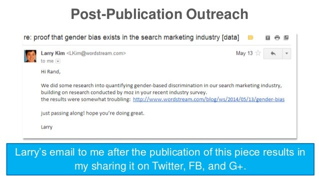 Post-Publication Outreach  Larry's email to me after the publication of this piece results in  my sharing it on Twitter, F...