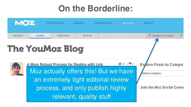 On the Borderline:  Moz actually offers this! But we have  an extremely tight editorial review  process, and only publish ...