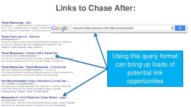 Links to Chase After:  Using this query format  can bring up loads of  potential link  opportunities