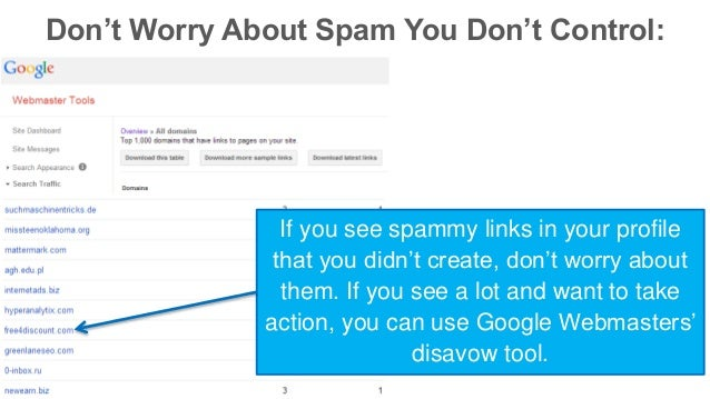 Don't Worry About Spam You Don't Control:  If you see spammy links in your profile  that you didn't create, don't worry ab...