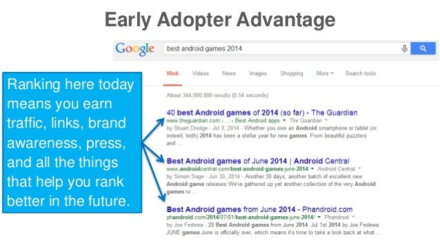 Early Adopter Advantage  Ranking here today  means you earn  traffic, links, brand  awareness, press,  and all the things ...