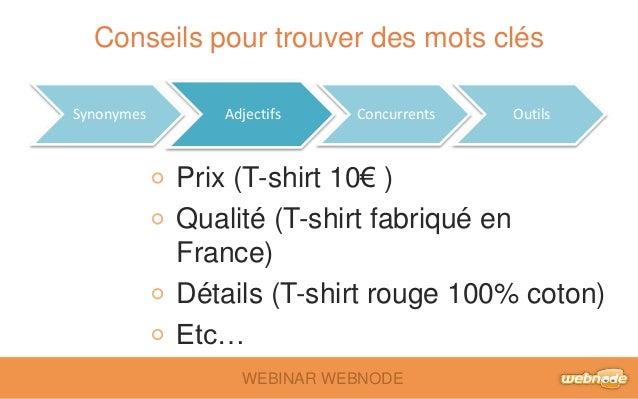 Conseils pour trouver des mots clés  Synonymes Adjectifs Concurrents Outils  Prix (T-shirt 10€ )  Qualité (T-shirt fabriqu...