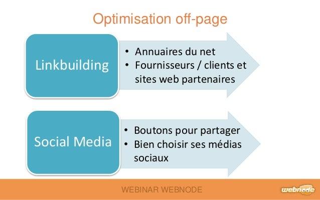 Optimisation off-page  WEBINAR WEBNODE  Linkbuilding  Social Media  • Annuaires du net  • Fournisseurs / clients et  sites...